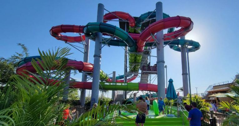 The twists and turns of the Ripride Race water slide at Seaworld Aquatica water park.