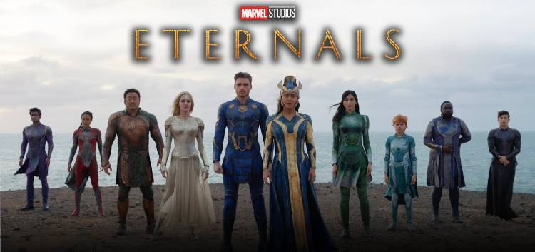 Marvel Studios Eternals - cast with logo