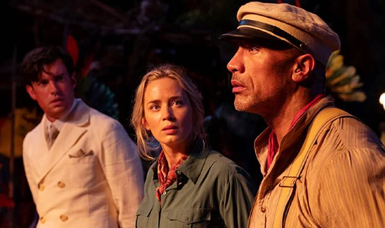 Disney's Jungle Cruise movie still with Jack Whitehall, Emily Blunt, and Dwayne Johnson