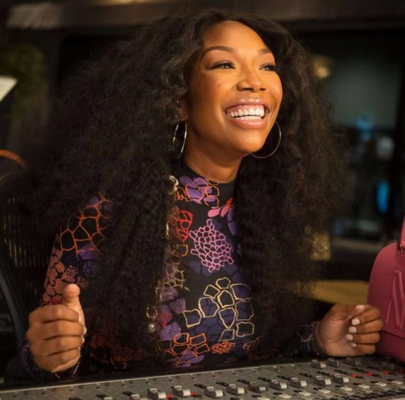 Grammy Award-winning recording artist Brandy recording her song 'Starting Now'