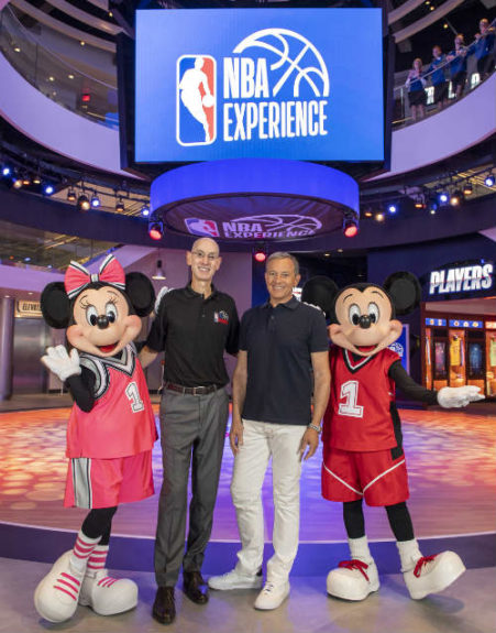 NBA Experience Grand Opening with NBA Commissioner Adam Silver and Disney Chairman and CEO Bob Iger flanked by Mickey and Minnie