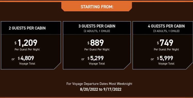 Star Wars: Galactic Starcruiser Resort at Walt Disney World - sample pricing chart