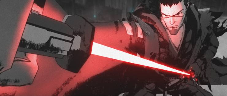 """Star Wars: Visions clip from """"The Duel"""" animated short. features a ronin drawing a red lighsaber from its sheaf, like a Japanese Ronin's sword."""
