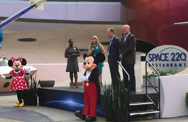 Space 220 Restaurant Opens at EPCOT -   executives from Patina Restaurant Group, Delaware North (Patina Restaurant Group's parent company), Disney, and very special guests Mickey Mouse and Minnie Mouse.