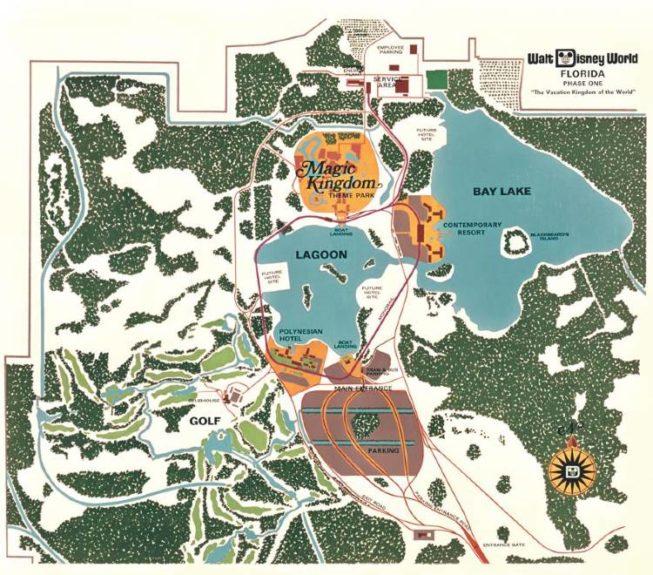 Walt Disney World 1971 map courtesy of The Walt Disney Company